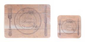 Indulje Luxury Bien Manger Heirloom Placemat and Coaster, Hardboard, Natural, Set of 4