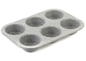 Salter BW02778G Marble Collection Carbon Steel 6 Cup Muffin Baking Pan, 27 cm, Grey