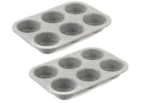 Salter Everest 27cm Grey Marble Coated 6 Muffin Tray x 2