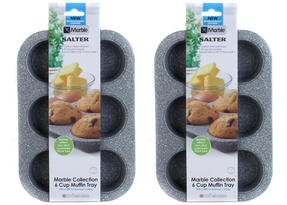 Salter Everest 27cm Grey Marble Coated 6 Muffin Tray x 2 Thumbnail 2