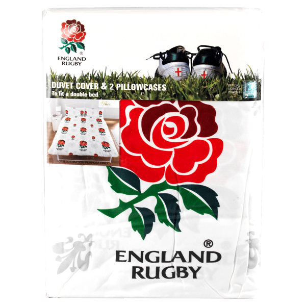 Rfu Official Licensed England Rugby Product Double Duvet And 2 Pillowcases Set