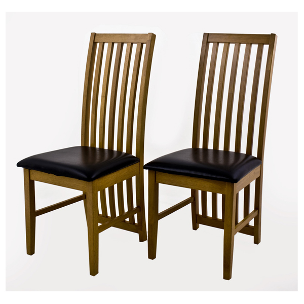 Ashleigh set of 2 quality oak finish dining chairs for Best quality dining room furniture manufacturers