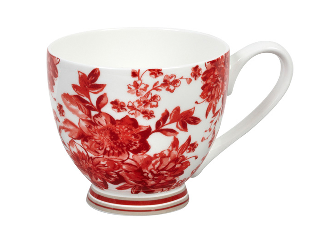 Portobello Cm04273 Footed Blush Red Fine Bone China Mug