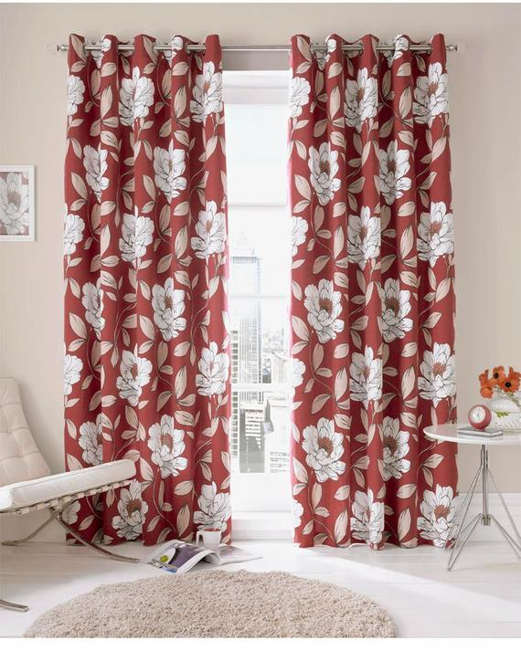 """Ashley Wilde Ready Made Curtains Issy Fully Lined Eyelets (Chilli, 46"""" x 90"""" (117cm x 229cm))"""