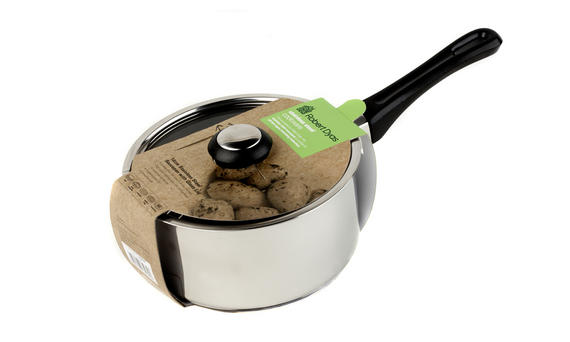 18cm Stainless Steel Saucepan with Black Handle And Glass Lid