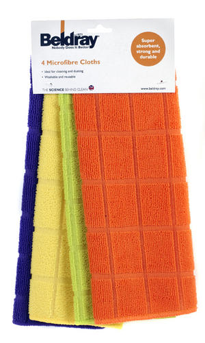 Beldray 4 Pack Microfibre Cloths Assorted Colours Thumbnail 1