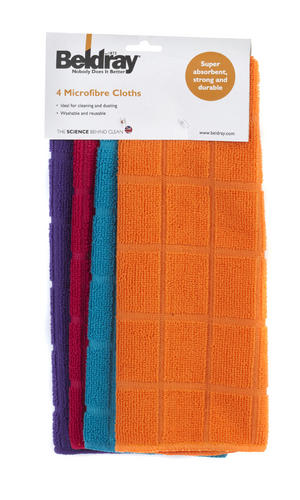 Beldray 4 Pack Microfibre Cloths Assorted Colours Thumbnail 3