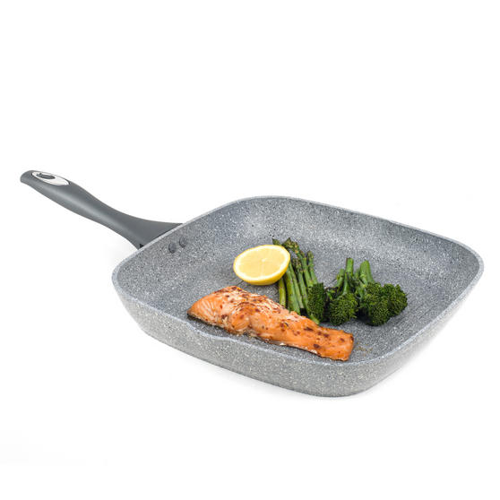 Salter Marble Collection Forged Aluminium Non Stick Griddle Pan, 28 cm, Grey