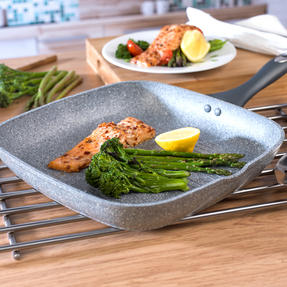 Salter Marble Collection Forged Aluminium Non Stick Griddle Pan, 28 cm, Grey Thumbnail 4