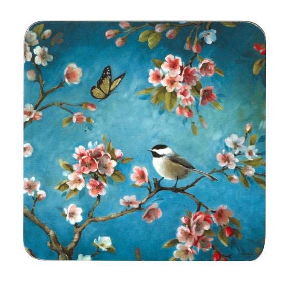 Inspire BCH281890 Luxury Spring Blossom Coasters, 10.5 x 10.5cm, Hardboard, Blue/Pink, Set of 4