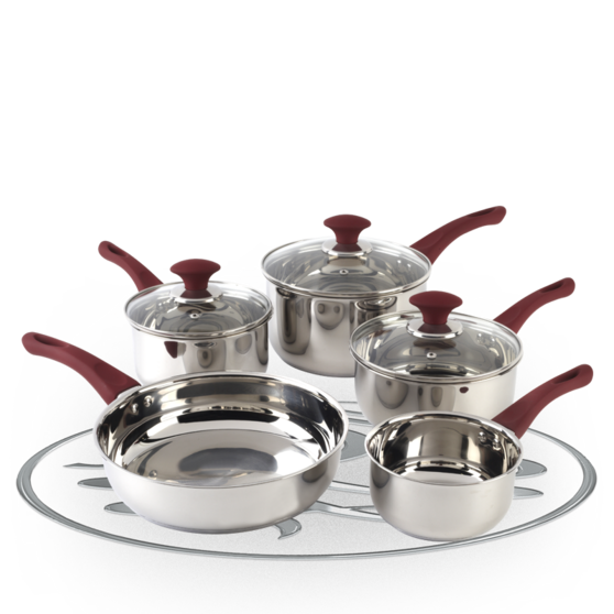 Russell Hobbs Heritage Fresno 5 Piece Stainless Steel Kitchen Pan Set With  Red Handles