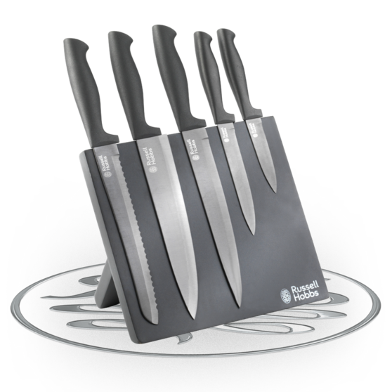 Rus Hobbs Deluxe 5 Piece Venus Stainless Steel Kitchen Knife Set With Magnetic Block