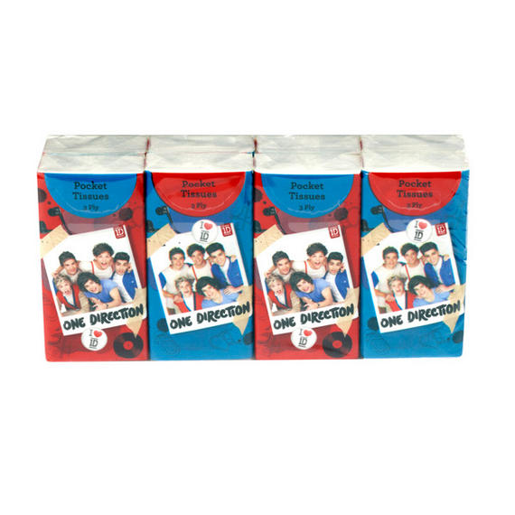 One Direction White Pocket Tissues 8 Pack Of 10 Tissues 24