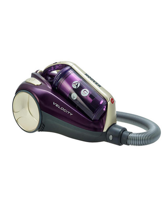 Hoover Velocity Cylinder Vacuum Cleaner VE11001, 2.5 Litre, 850 Watt - Purple and Champagne