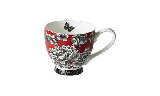 Portobello Footed Butterfly Garden Bone China Mug