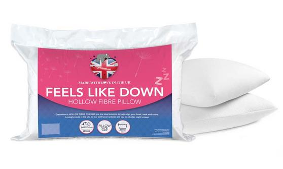 Dreamtime MF02612UP Down Like Feel Pillows, Cotton, Twin Pack, White