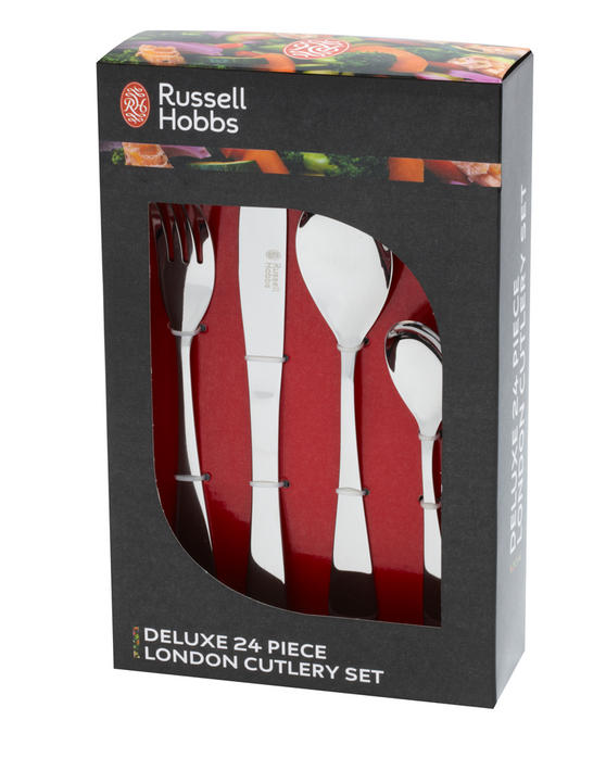 Russell Hobbs BW03130 Deluxe London 24 Piece Cutlery Set, Stainless Steel, 15 Year Guarantee