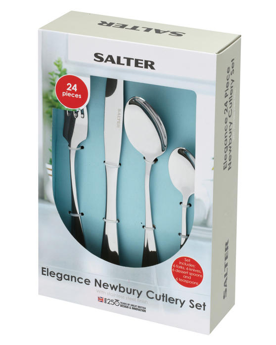 Salter BW03142 Elegance Newbury 24 Piece Cutlery Set, Stainless Steel, 15 Year Guarantee