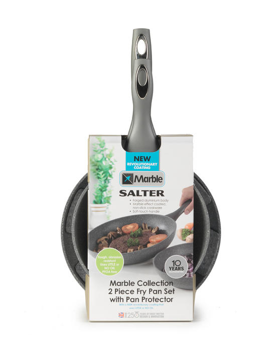 Salter Everest Twin Pack 24cm And 20cm Marblestone Grey Frying Pans BW04136G