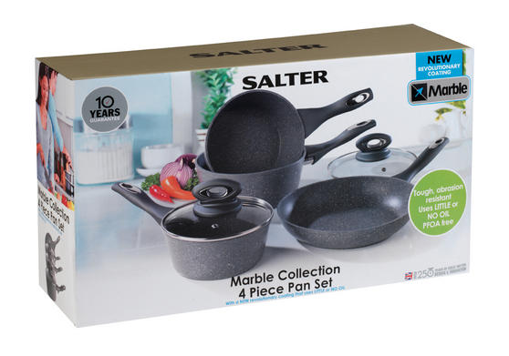 Salter Everest 4 Piece Marblestone Pan Set Grey BW04151G