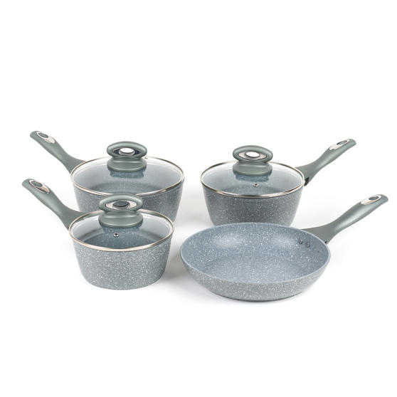 Salter BW04151G1AR Marble Collection Forged Aluminium Non Stick Pan Set, 4 Piece