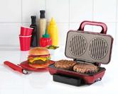 American Originals EK2005AR Non-Stick Hot Grill Dual Burger Maker for Fun Cooking, 800 W, Red