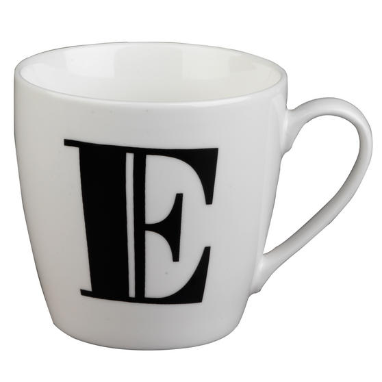 Inspire 10cm Fine Bone China Black Alphabet Mug E CM04615