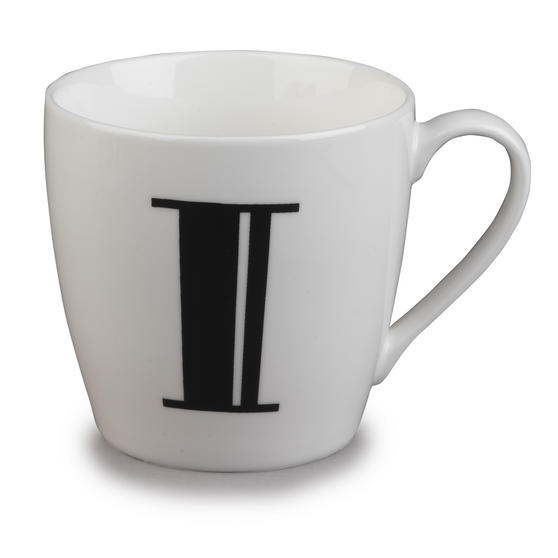 Inspire 10cm Fine Bone China Black Alphabet Mug I CM04619