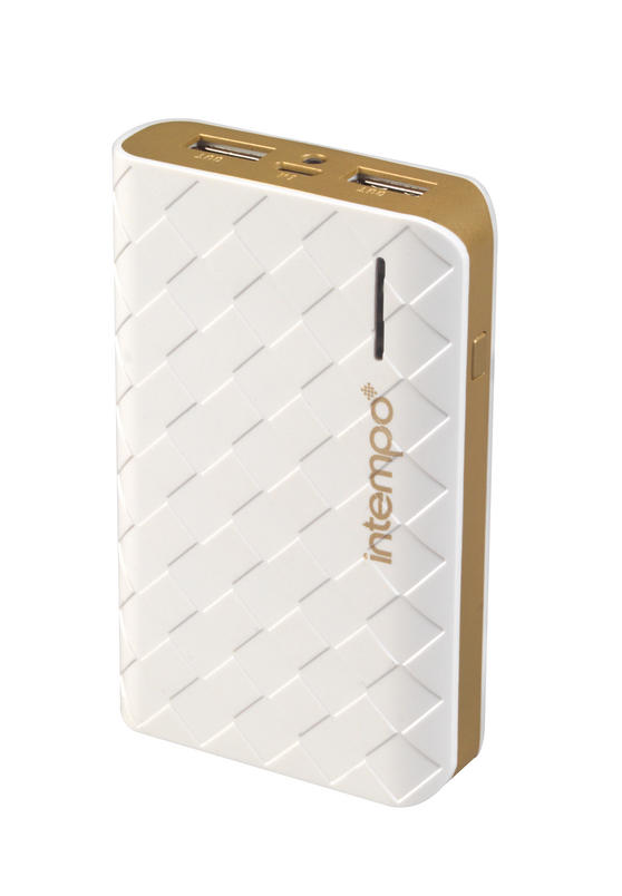 Intempo White & Gold 6000MaH Checked Power Bank Charger