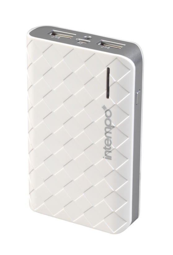 Intempo White & Silver 6000MaH Checked Power Bank Charger