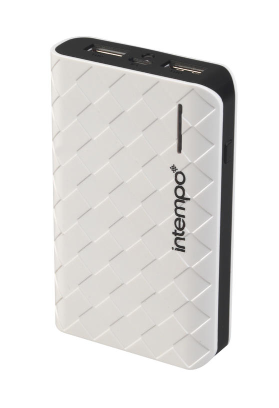 Intempo White & Black 6000MaH Checked Power Bank Charger