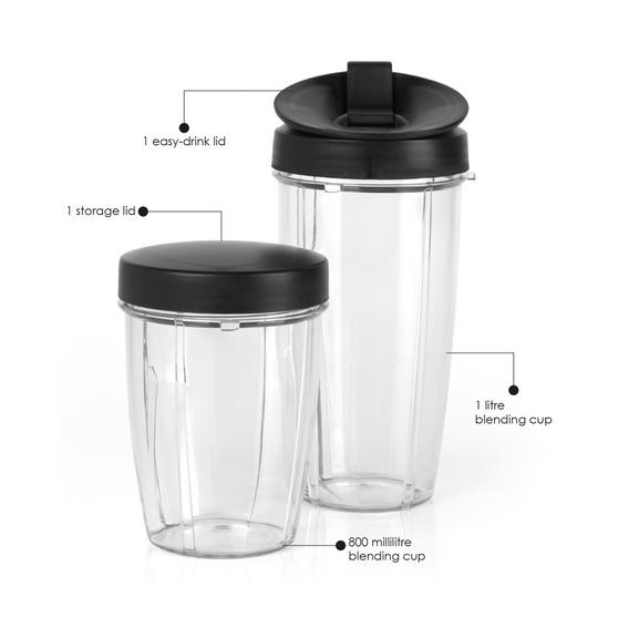 Salter NutriPro Accessory Pack, 800ml & 1 Litre Blending Cups, Black