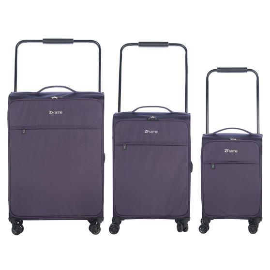 "ZFrame 4 Double Wheel Super Lightweight Suitcase 3 Piece Set, 18"", 22"", 26"", Purple, 10 Year Warranty"