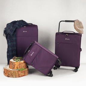"""ZFrame 4 Double Wheel Super Lightweight Suitcase 3 Piece Set, 18"""", 22"""", 26"""", Purple, 10 Year Warranty Thumbnail 2"""