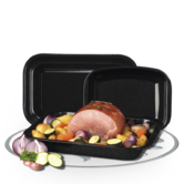 Russell Hobbs 3-Piece Vitreous Enamel Roaster and Chop Tray Set