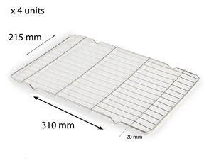 Stainless Steel 310mm x 215mm Cooling Roasting Rack RACK0013 x 4 units Thumbnail 1