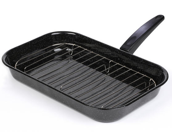 Salter 38cm Black Enamel Grill Pan With Rack And Handle BW00121