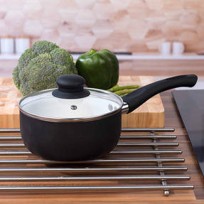 Russell Hobbs BW00784 Ceramic Coated Saucepan with Glass Lid, 16 cm, Black Thumbnail 2