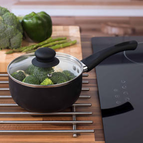 Russell Hobbs BW00784 Ceramic Coated Saucepan with Glass Lid, 16 cm, Black Thumbnail 6