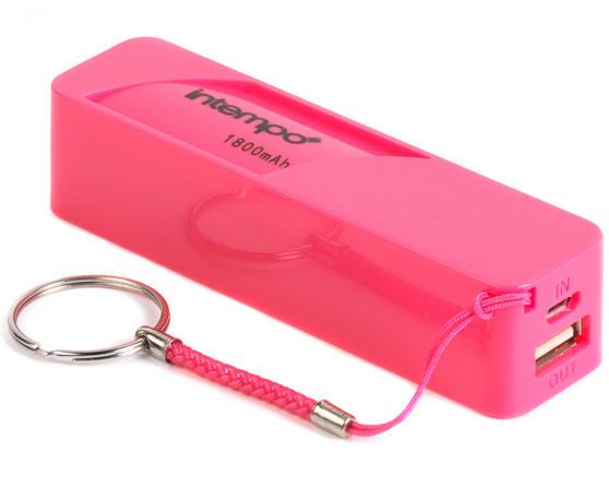 Intempo EG0246SPK Power Bank Charger, 1800mAh, Pink
