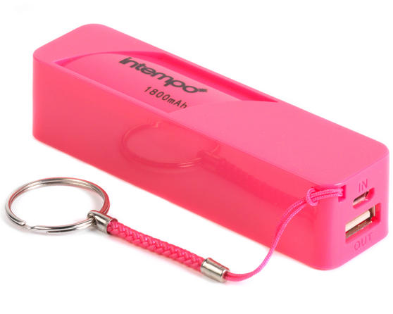 Intempo EG0246SPK Power Bank Charger, 1800mAh, Pink