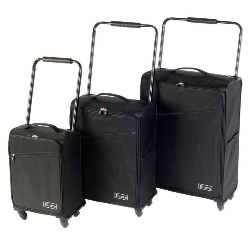 "ZFrame 8 Wheel Super Lightweight Suitcase Set, 18, 22 & 26"", Black"