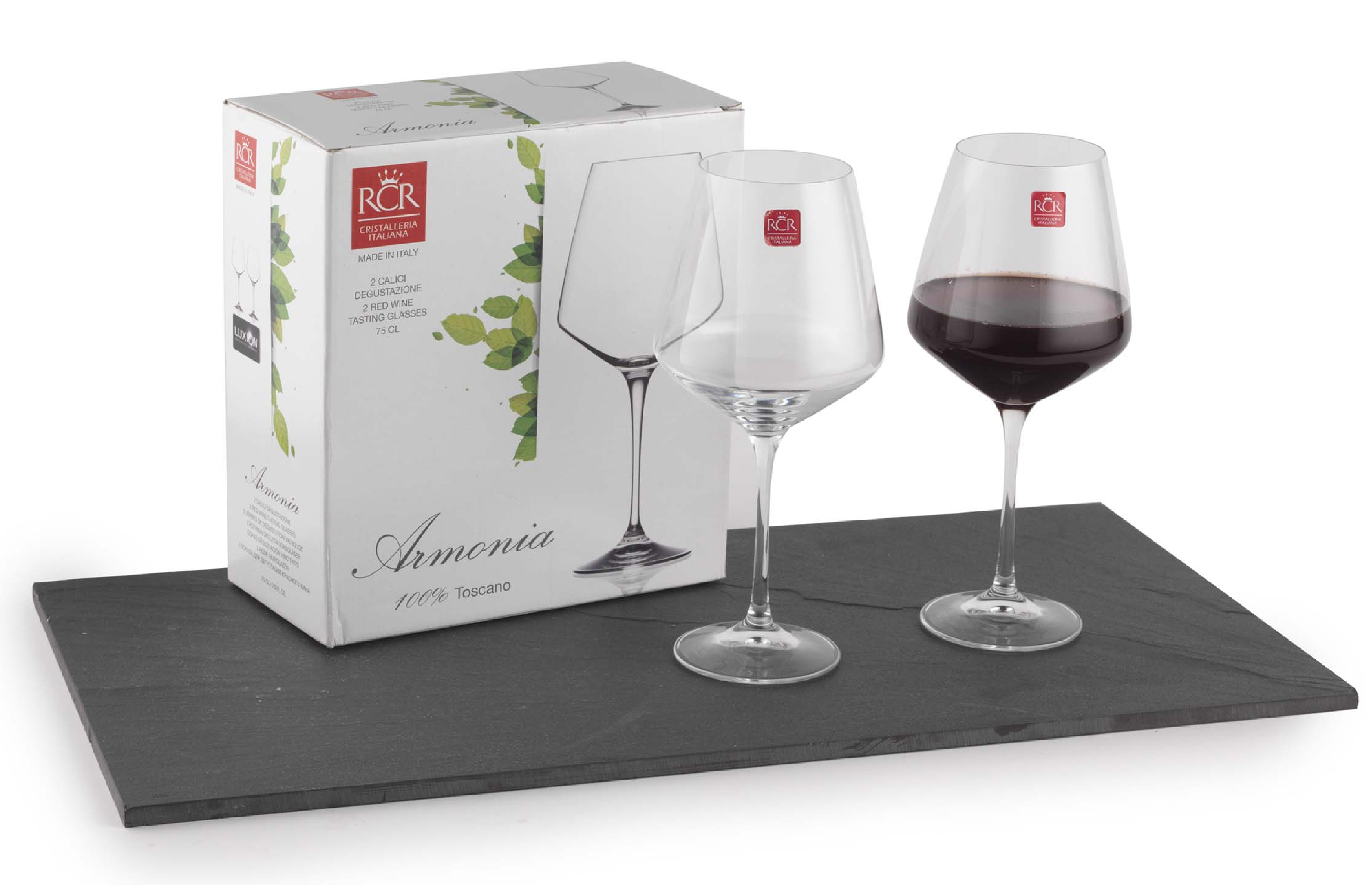 Rcr Armonia Set Of 2 Red Wine Glasses Luxion Glass 75cl