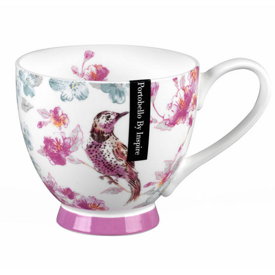 Portobello CM04568 Footed Forest Bird Song Fine Bone China Mug