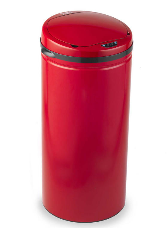 Russell Hobbs BW04610R Round Hands Free Motion Sensor Dustbin/Kitchen Bin, 40 Litre, Red