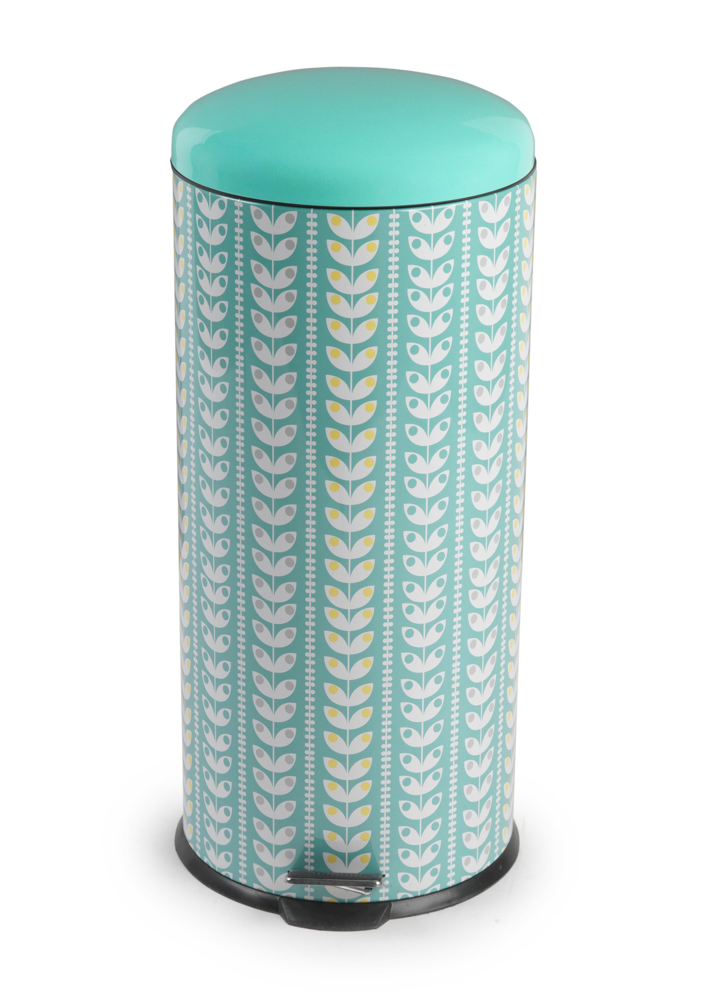 Salter Bw04606 Retro Leaf Kitchen Pedal Bin 30 Litre Turquoise