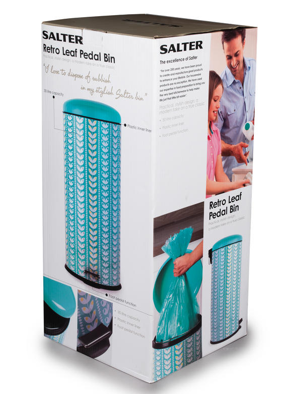 Salter bw04606 retro leaf kitchen pedal bin 30 litre for Turquoise bathroom bin