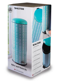 Salter BW04606 Retro Leaf Kitchen Pedal Bin, 30 Litre, Turquoise Thumbnail 2
