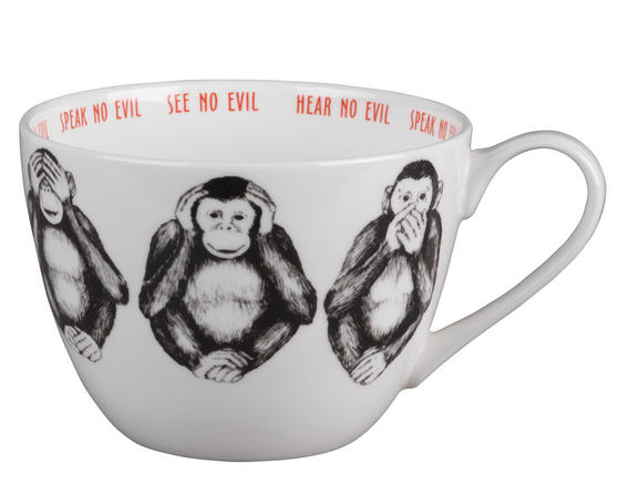 Portobello CM04804 Wilmslow Three Wise Monkeys Bone China Mug Set of 2