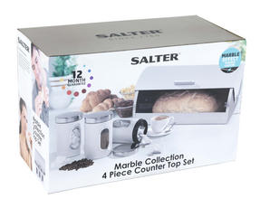 Salter BW04673W Marble Collection 4 Piece Countertop Set, White Thumbnail 6